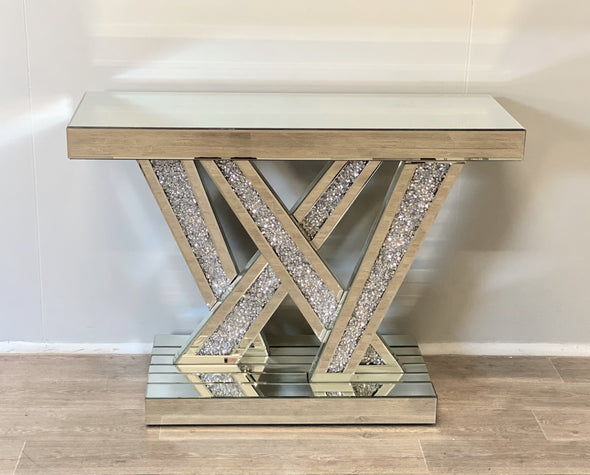 NEW ARRIVAL! Crushed Diamond W Console Table