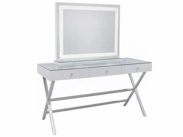 3 Drawers Coco Makeup Table with Clear Glass Top + XL CRYSTAL Hollywood Makeup Mirror with Bluetooth Speaker
