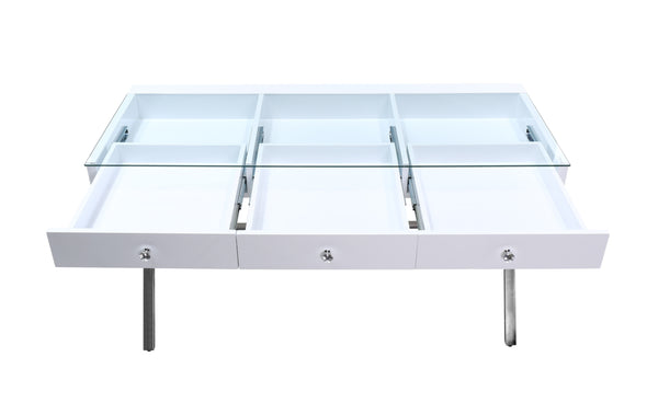 3 Drawers Coco Makeup Table with Clear Glass Top