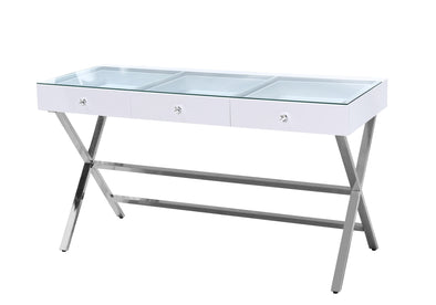 3 Drawers Clear Glass Top Beauty Station
