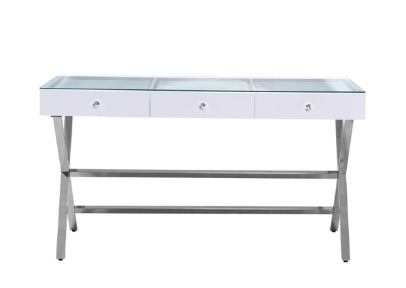 3 Drawers Clear Glass Top Beauty Station - NEW ARRIVAL