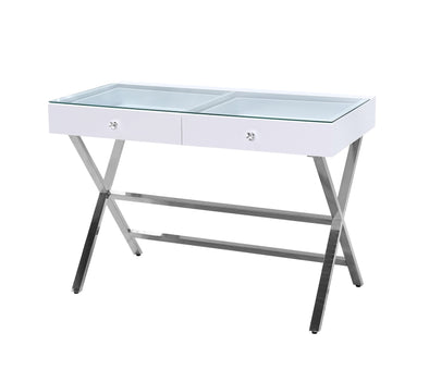NEW ARRIVAL 2 Drawers Clear Glass Top Beauty Station - White