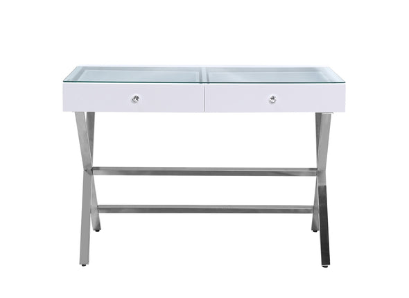 2 Drawers Coco Makeup Table with Clear Glass Top