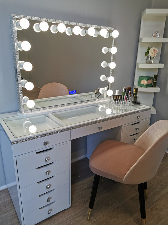 Diamond Style 13 Drawers Clear Glass Top Beauty Station + Hollywood Makeup Mirror with Bluetooth Speaker