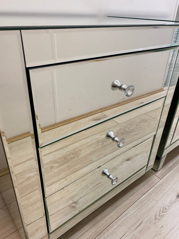 2 x 3 Drawers Mirrored Bedside Table (Large size)
