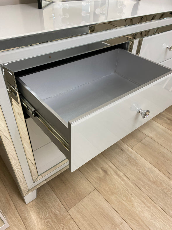 6 Drawers Mirrored Chest - WHITE