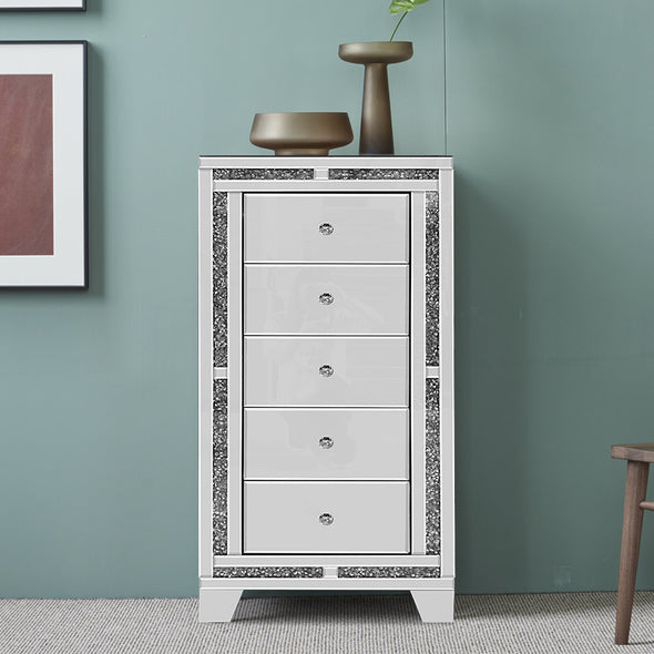 New Arrival 5 Drawers Crushed Diamond Front Mirrored Tallboy