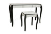 3 Drawers Mirrored Makeup Table (White Glass Top & Black Painted Leg)