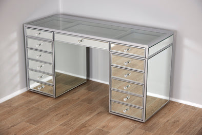 Mirrored style Clear Glass Top Makeup Vanity Table