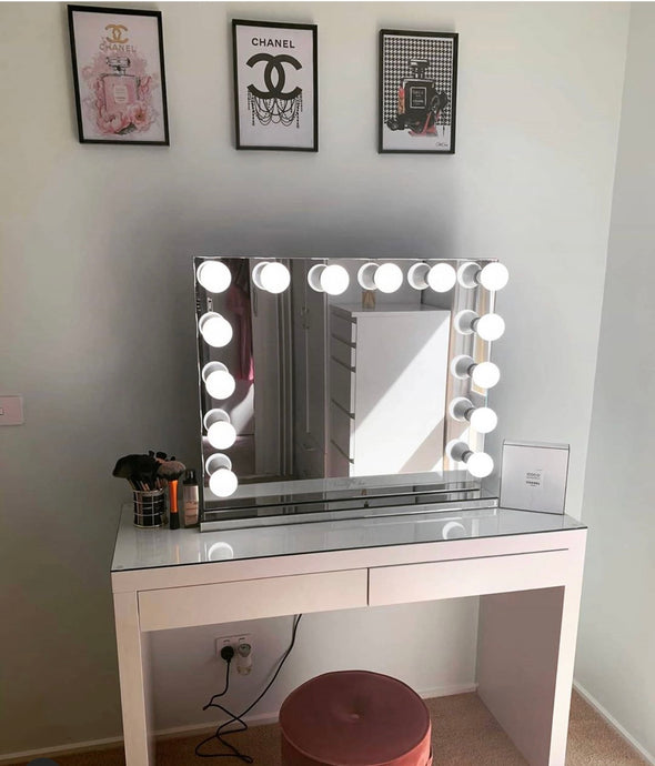 PRE-ORDER! L-Frameless Hollywood Makeup Mirror with Sensor Touch Dimmer + 2 Drawers Vera Vanity Table
