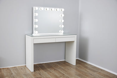 YSABEL Hollywood Makeup Mirror with LED lights + 2 Drawers Vera Vanity Table