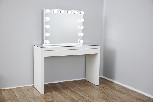 Large Frameless Hollywood Makeup Mirror with LED lights + 2 Drawers Vera Vanity Table