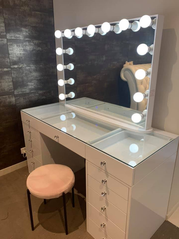 MILA ROSE Beauty Station (Clear Glass Top) + XL YSABEL Frameless Hollywood Makeup Mirror with LED Lights