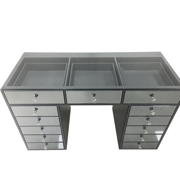 NEW ARRIVAL - ANNA Clear Glass Top Beauty Station - Smokey Grey