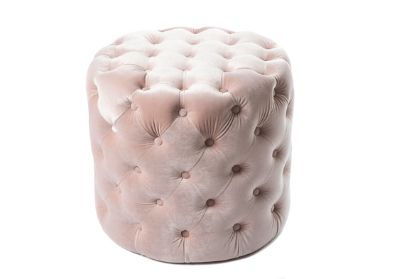 Alexa Round Ottoman / Makeup stool - Light Pink