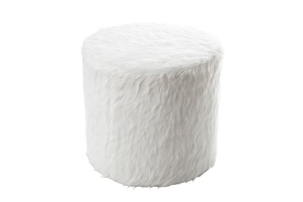 Snow White Furry Round Ottoman / Makeup Stool (Medium)