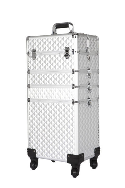 4 in 1 Silver Diamond beauty makeup case trolley, Portable make up travel trolley
