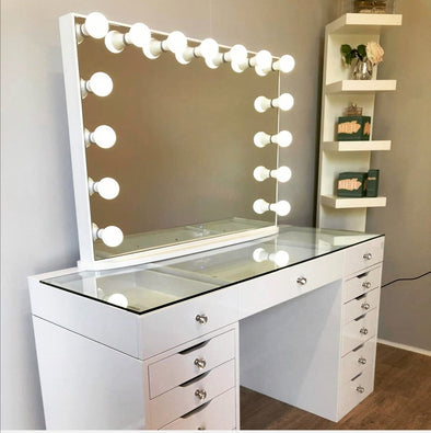 PRE-ORDER! AVA ROSE Beauty Station (Clear Glass Top) + XL YSABEL Frameless Hollywood Makeup Mirror with Sensor Dimmer