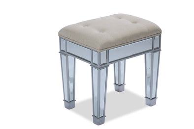Mirrored Style Makeup Stool - Silver
