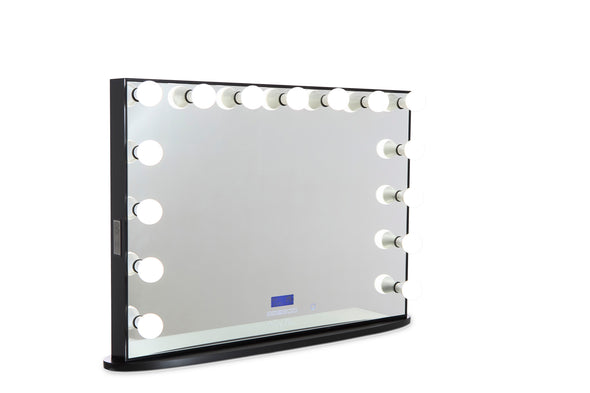 MILA ROSE Beauty Station (Clear Glass Top) + XL Frameless Hollywood Makeup Mirror with Lights