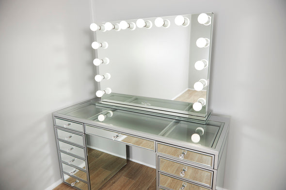 PRE-ORDER! XL VALENTINA Frameless Mirrored Hollywood Makeup Mirror with Dimmable LED Lights + JOELLE Clear Glass Top Vanity Table