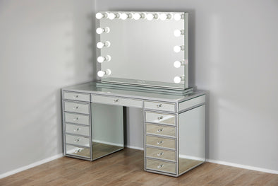 XL VALENTINA Frameless Mirrored Hollywood Makeup Mirror with Dimmable LED Lights + JOELLE Clear Glass Top Vanity Table