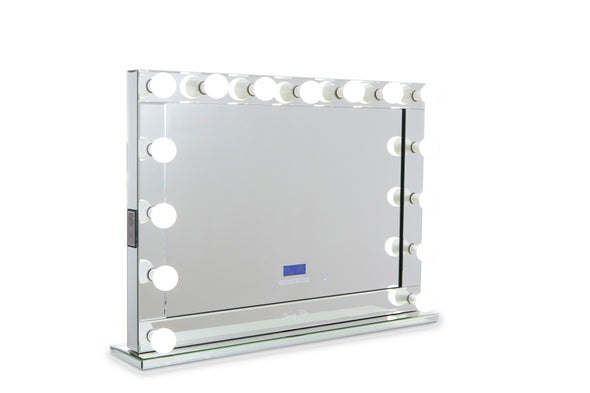 XL Mirrored Frame Hollywood Makeup Mirror with Dimmable LED Lights with Bluetooth Speaker