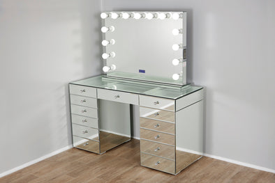 JOSEPHINE Beauty Station with Clear Glass Top - Full Glass + XL VALENTINA Frameless Mirror with Bluetooth Speaker