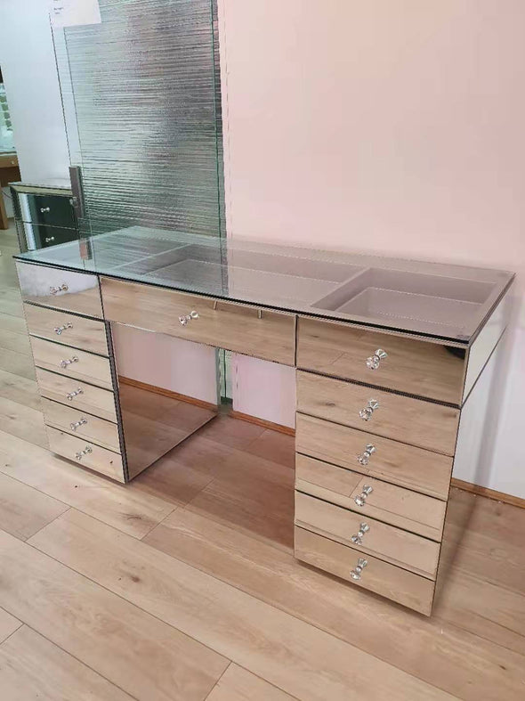Vera 13 Drawers Clear Glass Top Vanity Table - Full Glass