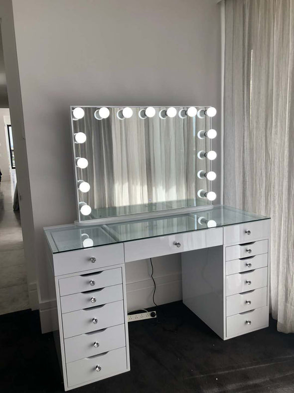 AVA ROSE Beauty Station (Clear Glass Top) + XL YSABEL Frameless Hollywood Makeup Mirror with Sensor Dimmer