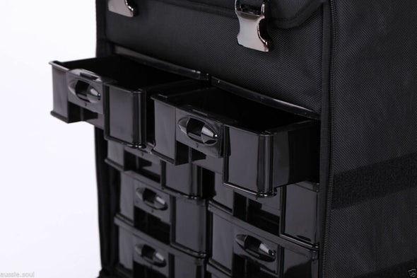 Single PU Leather beauty makeup case trolley, Portable make up travel trolley