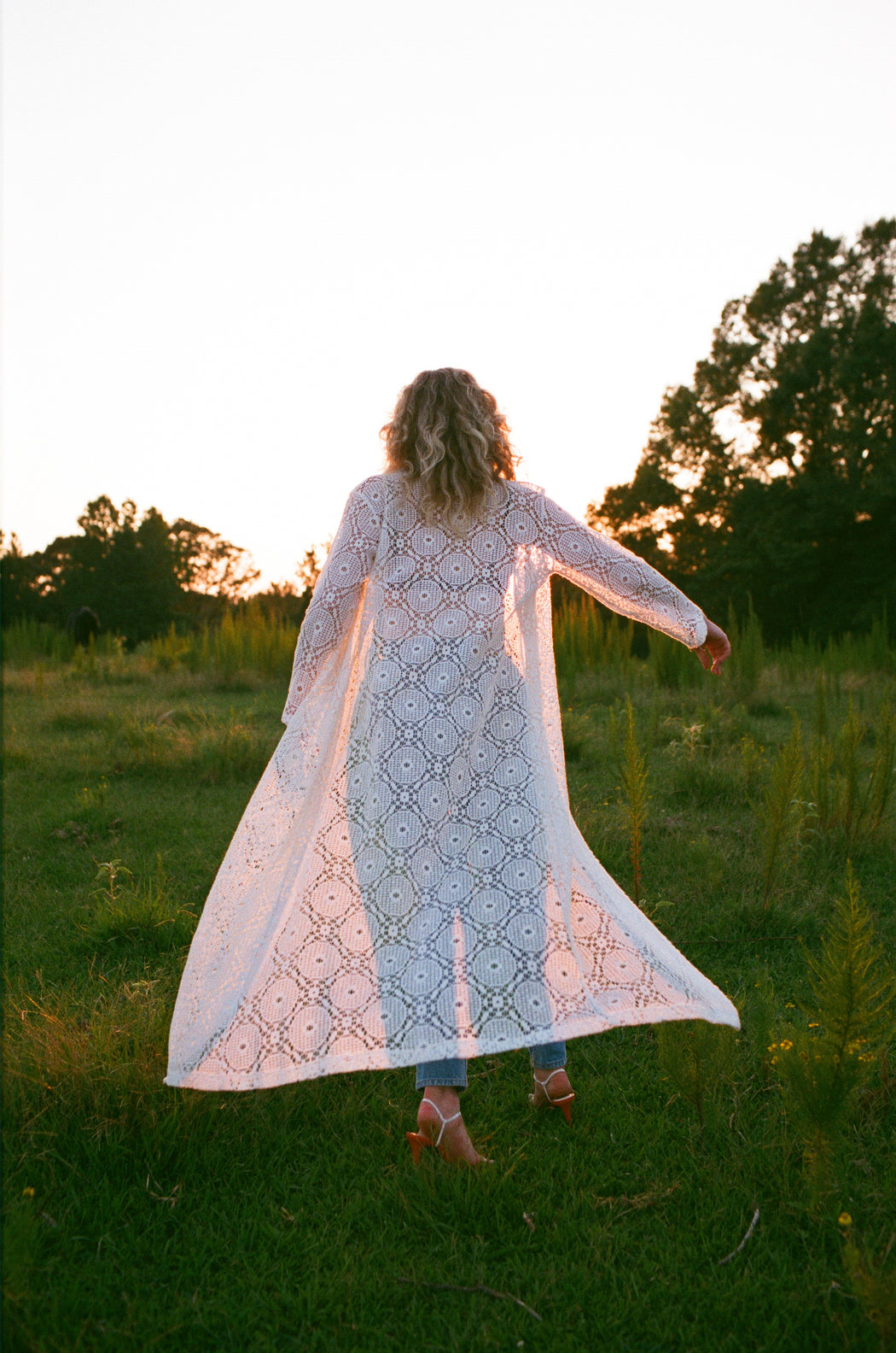 Vintage White Cotton Eyelet Maxi Cover Up (M)
