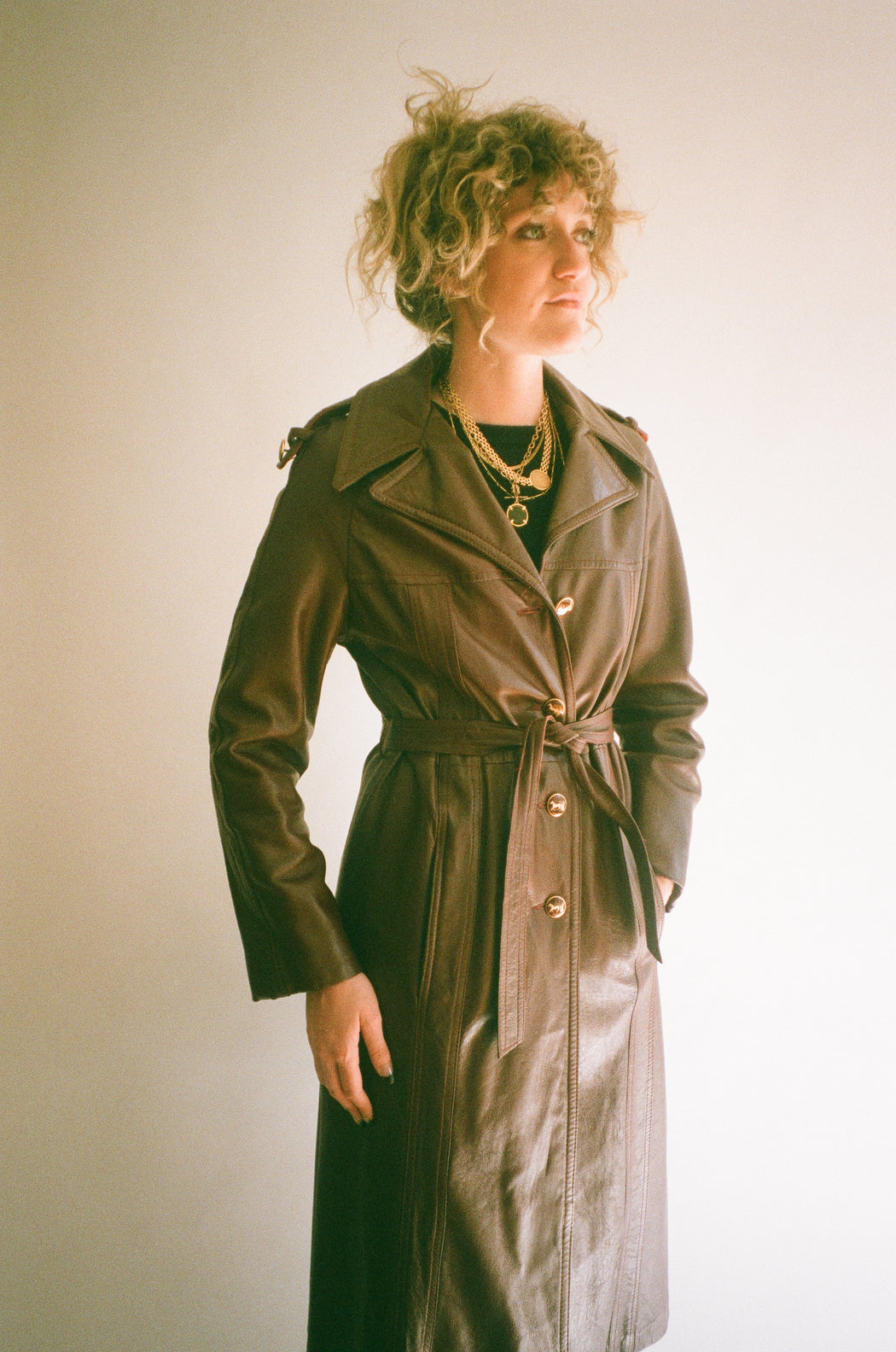 Vintage Oxblood Leather Trench (M)