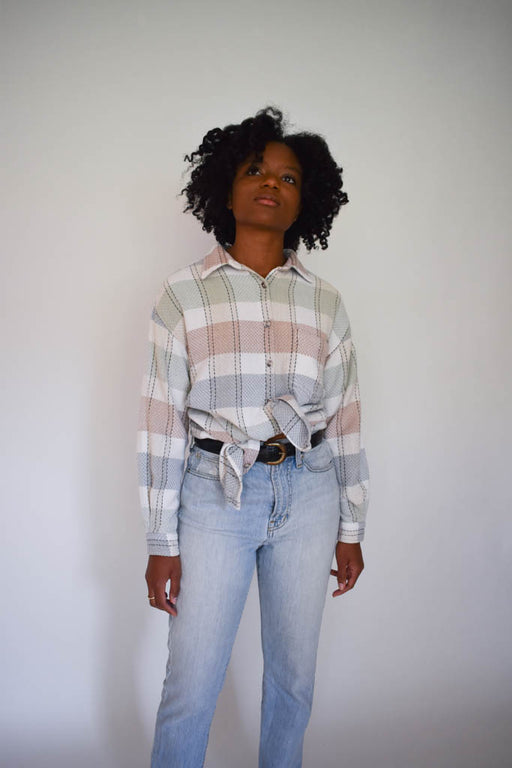 A 2000's large vintage unisex plaid button down with vintage denim jeans