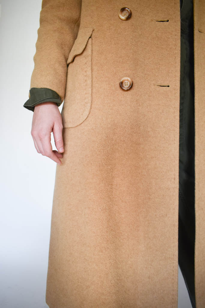 Womens small vintage camel hair double breasted peacoat with silk lining