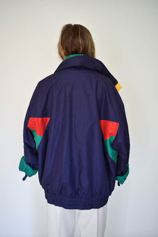 Womens extra large vintage color block windbreaker jacket with hood