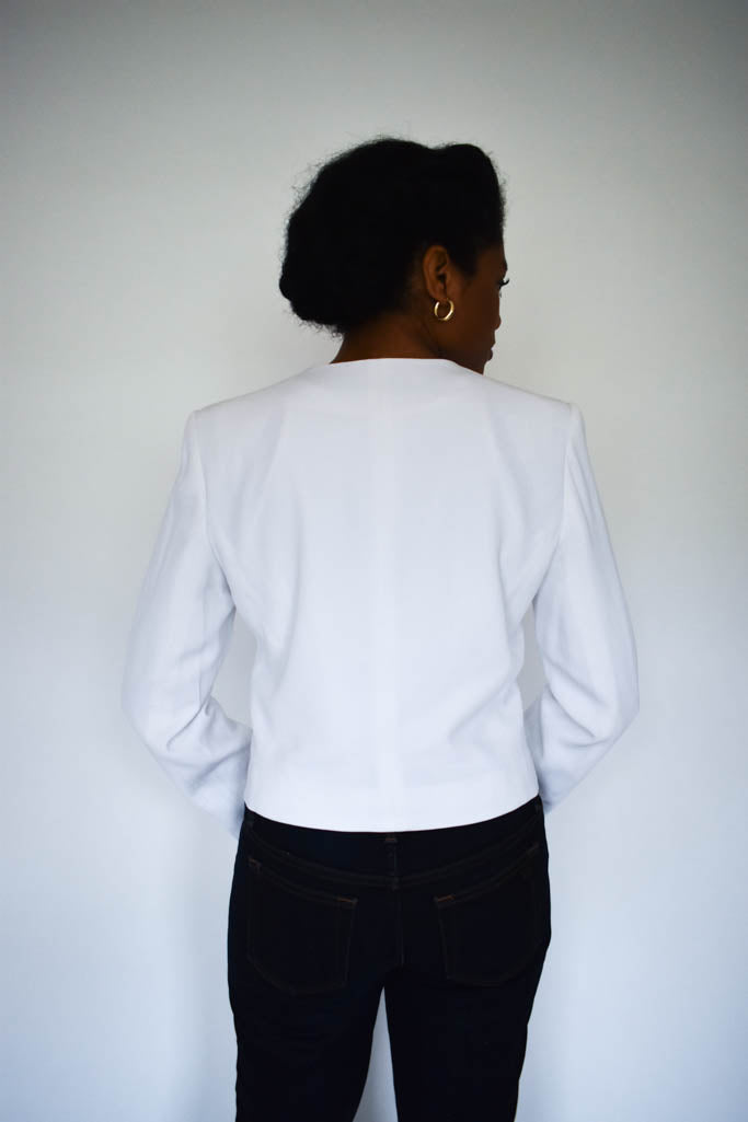 Womens small vintage white cropped blazer with gold buttons