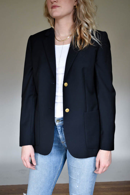 Womens size 4 vintage Brooks Brothers navy wool boyfriend blazer with gold buttons