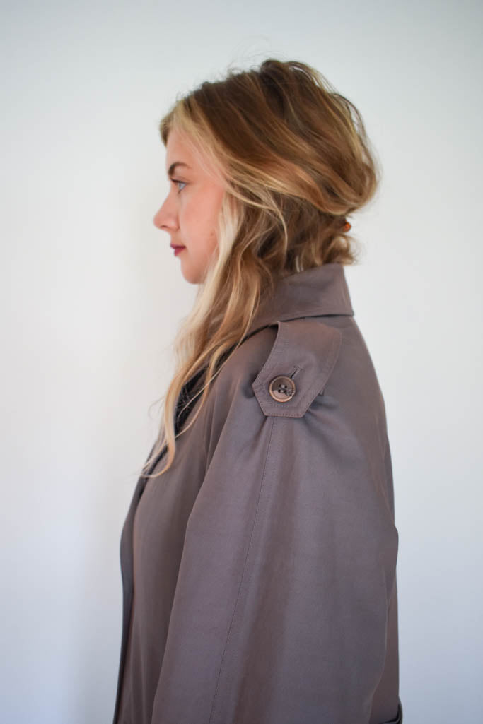 Womens medium vintage mocha trench coat with wool removable lining