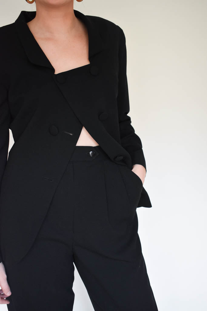 Womens vintage Christian Dior size 4 black suit with square neck