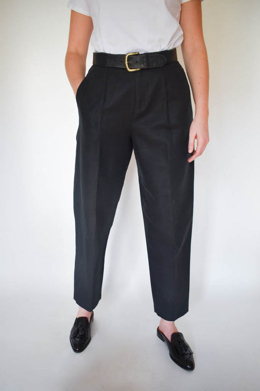 Womens size 6 vintage black linen high waisted pant