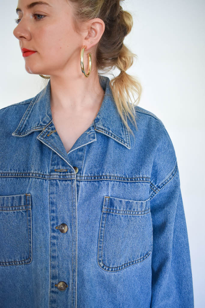 Womens extra large vintage oversized denim button up jacket with leather pant