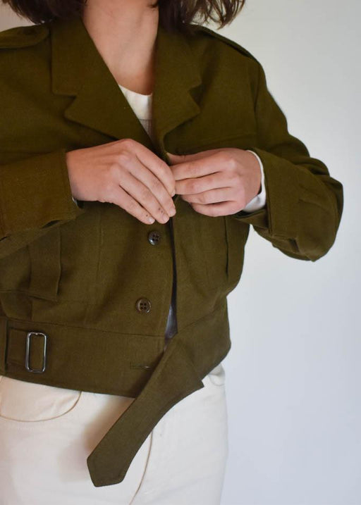 Womens extra small vintage army green wool cropped jacket with buckle