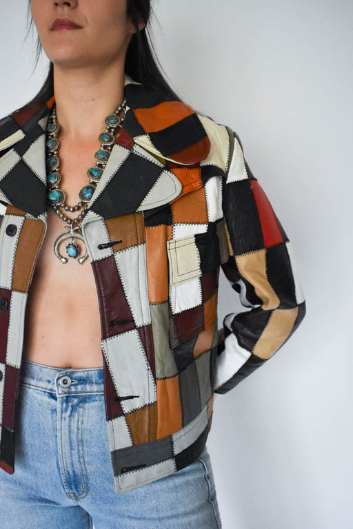 Womens large vintage 70's patchwork genuine leather jacket with squash blossom necklace