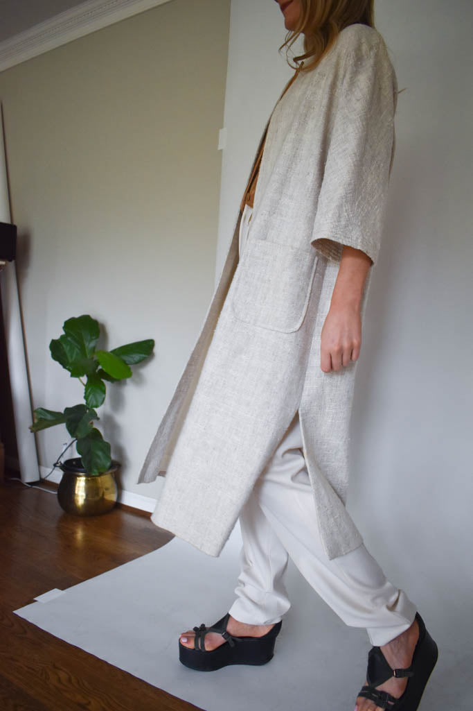 Womens large vintage natural tweed duster