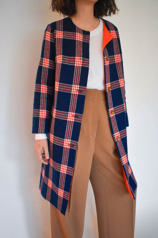 Womens small vintage royal blue fluorescent orange plaid wool jacket