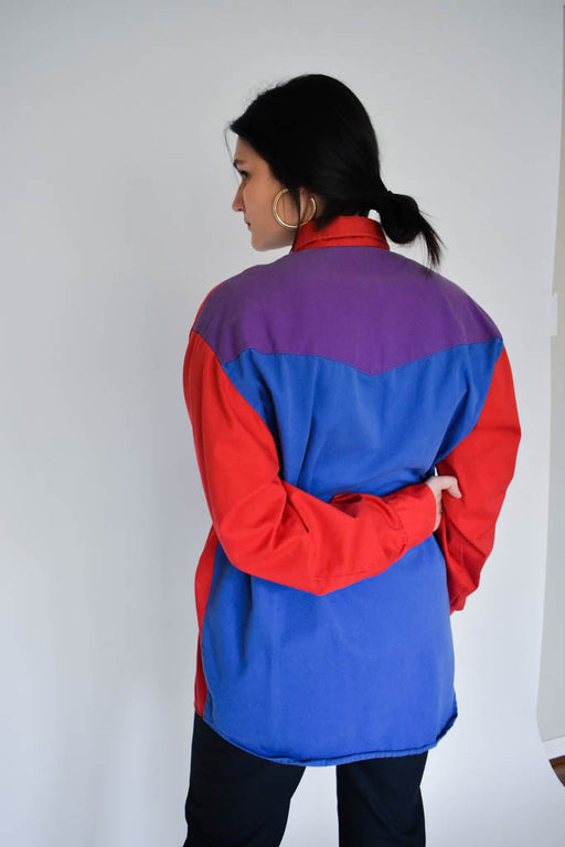 A 90's extra large vintage unisex red blue and purple color block button down with Dickies