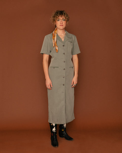 Vintage Sage Green Midi Shirt Dress (6)