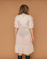 Vintage 70's Sheer Lace Collar Dress (S/M)