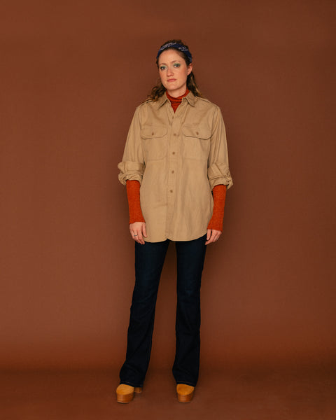 Vintage Unisex Khaki Workshirt (XL)